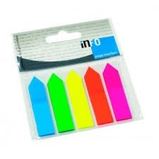 Post-it banderas x 5 colores fluo flecha